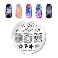 NICOLE DIARY Round Nagel Schablone Star Pattern Nail Image Stamp Templates 110