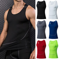 Mens Compression Tank Top Workout Fitness Sleeveless Tee Gym Sports Vest T Shirt