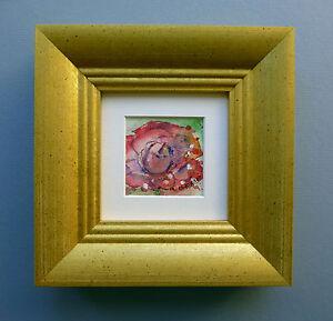 "Miniature original Watercolour  ""La Rose Rouge"""