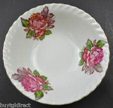 """White China Rose Design Gold Trimmed Bowl 6"""" Round Collectible Tableware Roses"""