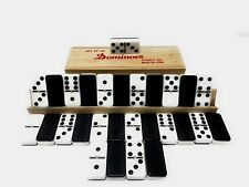 """5"""" Inch Thick Black And White Wall 28 Pieces Double Six 6 Dominoe With Wood Case"""