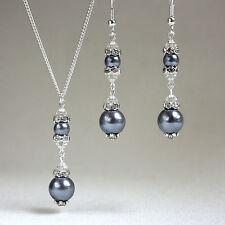 Dark grey crystal pearl necklace earring silver wedding bridesmaid jewellery set