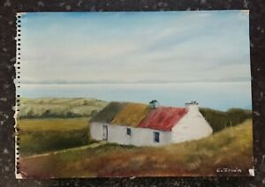 Oil Painting on Professional Artists Paper. Irish Cottage. 29 1/2cm by 41