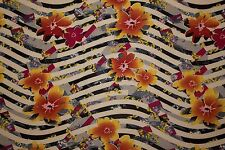 Multi Striped Floral ITY Print #132 Stretch Polyester Lycra Spandex Fabric BTY