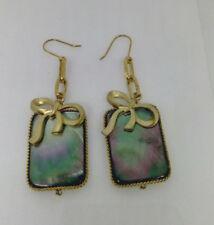 Rectangular Shell Gold Bow Earrings