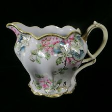 """Lovely Antique NIPPON Maple Leaf Hand Painted Pitcher Floral Gold Beaded 5.5"""" H"""