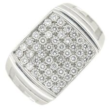 Versace White Gold & Diamond Pave Set Greca Style Signet Ring 1.5cms 1.00cts