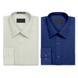 2 Pack Men's Berlioni Long Sleeve Button Up Dress Shirt Royal Blue - Off White