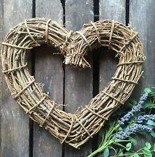 Rustic Twig Heart Wreath, Shabby Chic Wedding Door Decoration, Gisela Graham