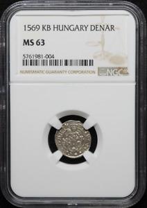 :1569-KB Maximilian Denar Hungary MB# 212 LOW-POP NGC MS-63 HIGHEST-GRADES