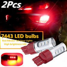 2x 7443 Red LED Flashing Strobe Bulbs Blinking Safety Rear Brake Tail Stop Light