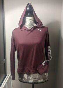 Puma Women's Lightweight Hooded Long Sleeve T Shirt Maroon Size XS (H)