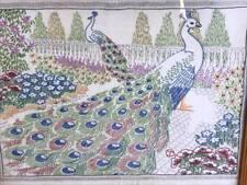 Vintage Crewel Embroidery Peacock Framed Linen