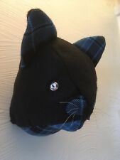 """""""Lucky Mr Black Cat"""" Blue Tweed/Felt sewn Faux Trophy Head, Nice cheer Up Gift!"""