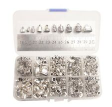 245PCS/BOX Antiqued Silver Metal Cord End Caps W/Container (10 Styles)