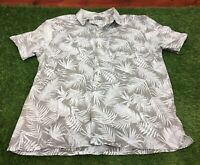 TU Size L Regular Fit Grey Floral Print Hawaiian Theme Short Sleeve Shirt