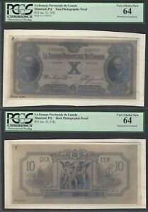 Canada Face & Back 10 Dollars 31-1-1921 Photographic Proof Uncirculated