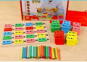Baby Wooden Toy Domino Block Montessori Math Toys for Children Counting Game