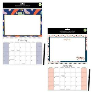 2022 Memo Calendar with Whiteboard & Pen Office School Notes Wall Planner