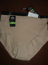 2 NEW BALI  X864 LIGHT CONTROL COTTONY TUMMY PANEL BG/BK BRIEF PANTIES SIZE L