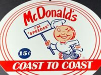 "VINTAGE MCDONALD'S PORCELAIN SIGN 12"" RESTAURANT FAST FOOD ADVERTISING BURGERS"
