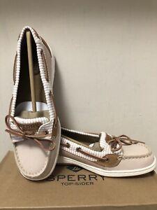 New In Box Sperry Top Sider Angelfish Seersucker Rose Boat Shoes Women's Size 8