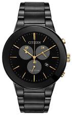Citizen Eco-Drive Men's Axiom Chronograph Gold-Tone Accent 43mm Watch AT2248-59E