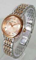 Bulova 98R275 Women's 30mm Rose Tone + Silver S/Steel Diamond Accent Watch