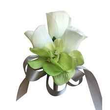 Pin Corsage-Beautiful Ivory Rosebuds With Green Hydrangea *Pick Ribbon Color*
