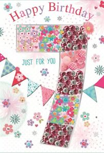 """Age 7th Birthday Card - Patchwork Floral 7 with Bunting & Silver Foil 7.75x5.25"""""""