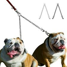 2 Way Metal Lead Chain Coupler Double Twin Dog Leash Two Dogs No Tangle Safe New