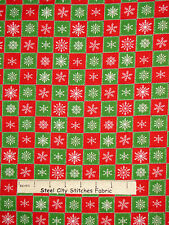 "Christmas Fabric Snowflakes Red Green Squares Holiday VIP 3 Pieces - 20""+19""+7"""