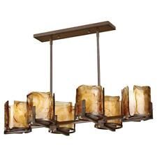 Feiss 6 Light Hanging Rectangle Dining Room Chandelier Amber Alabaster Glass