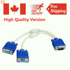 VGA 15 Pin PC SVGA Male to 2 Double Female Monitor Y Adapter Splitter Cable