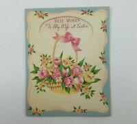 Vintage Easter Card To My Wife Unused Flower Basket Cutout No Envelope