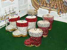LOT OF 7 Vintage handmade SANTA BOOTS sequins  beads pins Christmas ornaments