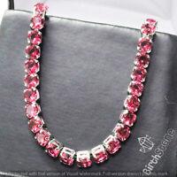 "Round Ruby Tennis Bracelet Women Wedding Jewelry 18k White Gold Plated 7"""