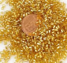 2mm Japanese Seed Glass Beads 24k gold lined crystal Round tube 15g