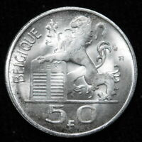 1954 Belgium 5 Francs  SIlver BU/ UNC  A47-614