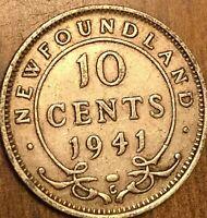 1941 NEWFOUNDLAND SILVER 10 CENTS