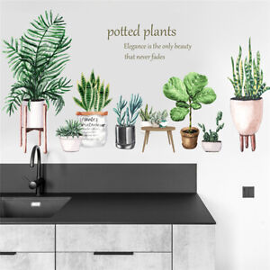 Living Room Wall Stickers Decal Sticker Decal Art Green Potted Cactus Plant DS
