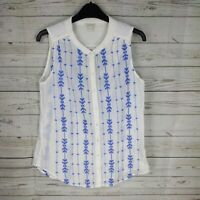 MONSOON - White & blue pattern Blouse top shirt button up short sleeves size 10