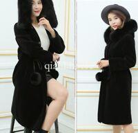 women long genuine cashmere thicken hooded parka jacket coat winter warm outwear