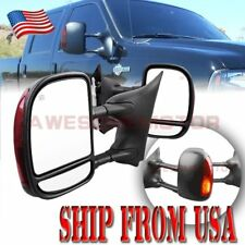 Pair Towing Power Mirrors w/ LED Signal + Heated Fit Ford F250 Super Duty 99-07