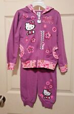Hello Kitty Girl Purple Floral Glitter Ruffle Hoodie Jacket Pant Outfit Set 5 5T