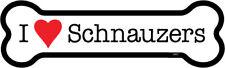"I Heart (Love) Schnauzers Dog Bone Car Magnet 2"" x 7"" Usa Made"