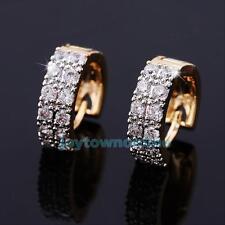 1 Pair Zircon Crystal Hoop Huggie Earrings Gold Plated Women Fashion Jewelry New