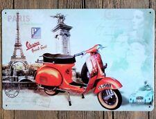 Vespa Piaggio Scooter Paris carte postale Tour eiffel Plaque Métal Tin Signe B164