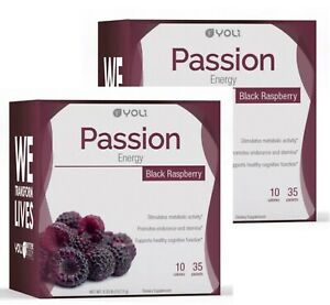 2 PACK! Yoli PASSION BLACK RASPBERRY 35 Packets per box (energy drink) BRAND NEW