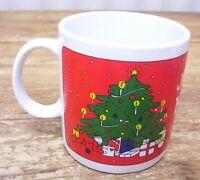 Taylor Ng Joyous Noel Christmas Tree Gift Red Coffee Mug Cup 1980 Vintage Japan
